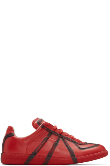 Maison Margiela - Red & Black Painted Lines Replica Sneakers