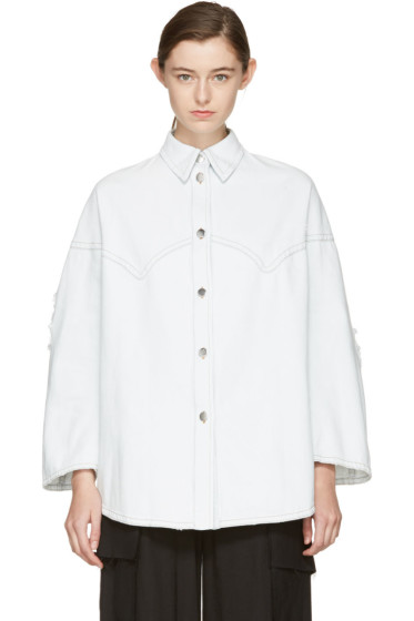 MM6 Maison Margiela - Blue Bleached Denim Shirt
