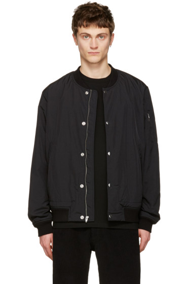 T by Alexander Wang - Black Nylon Bomber Jacket