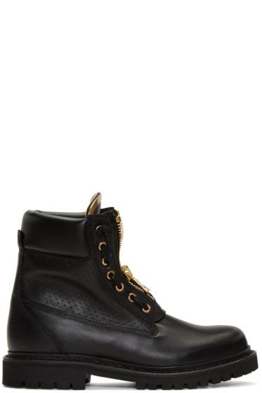 Balmain - Black Perforated Taiga Boots