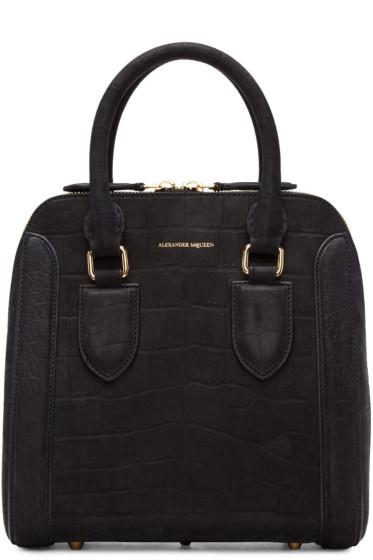 Alexander McQueen - Black Croc-Embossed Medium Heroine Bag