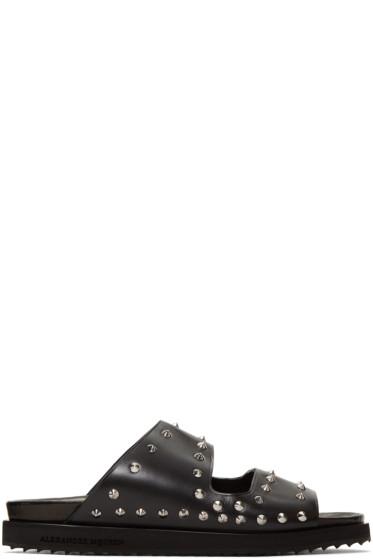 Alexander McQueen - Black Studded Slide Sandals