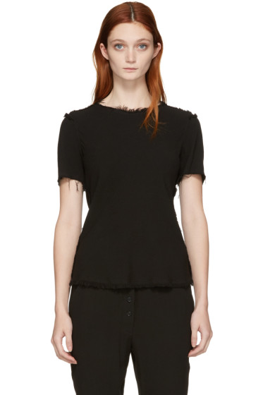 Raquel Allegra - Black Frayed Blouse