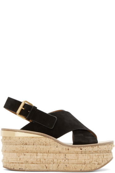 Chloé - Black Camille Wedge Sandals
