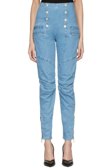 Pierre Balmain - Blue Buttoned Skinny Jeans