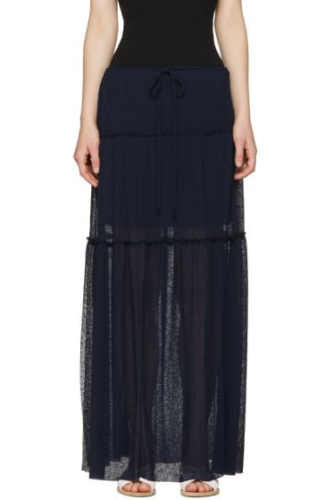 See by Chloé - Navy Long Gauze Skirt