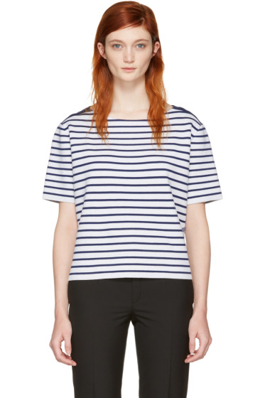 Burberry - Navy & White Striped Riverpaiave T-Shirt