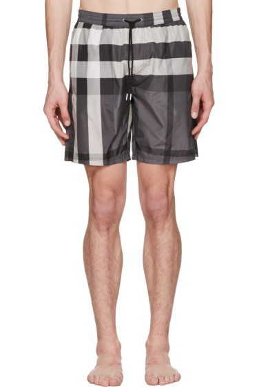 Burberry - Grey Check Swim Shorts