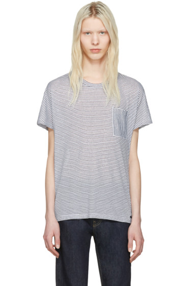 Burberry - White & Blue Striped Milford T-Shirt