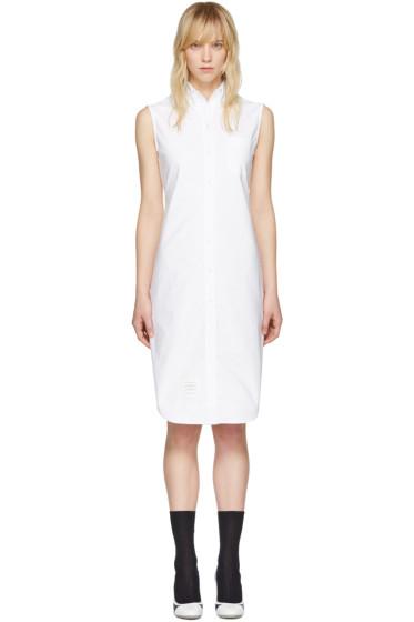 Thom Browne - White Sleeveless Shirt Dress