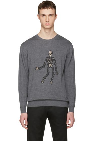 Markus Lupfer - Grey Embellished Skeleton Pullover