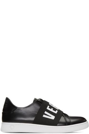 Versus - Black Logo Band Slip-On Sneakers