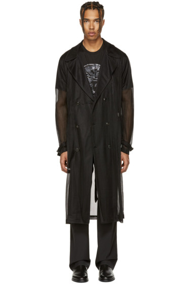 Versace - Black Knit Trench Coat