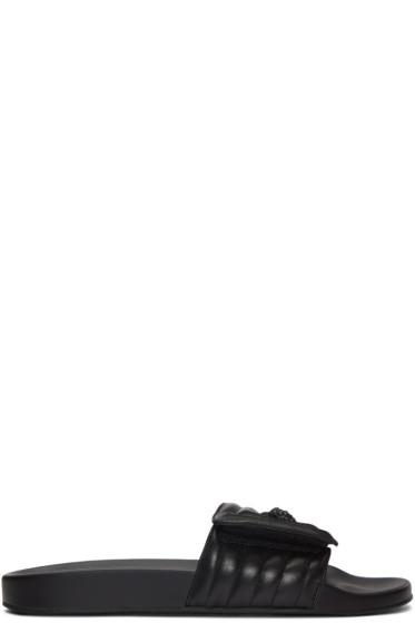Versace - Black Quilted Medusa Sandals