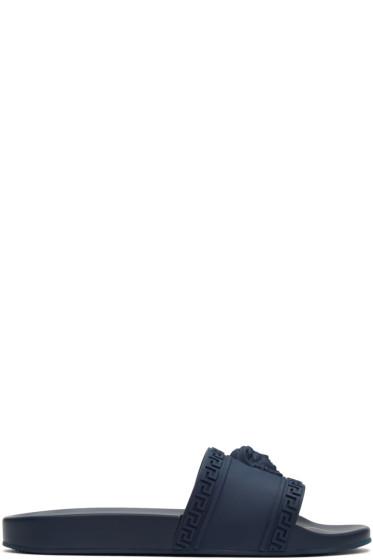 Versace - Navy Medusa Slide Sandals