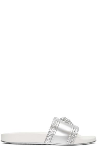 Versace - Silver Medusa Slide Sandals