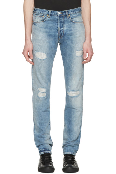 PS by Paul Smith - Blue Ripped Slim Jeans