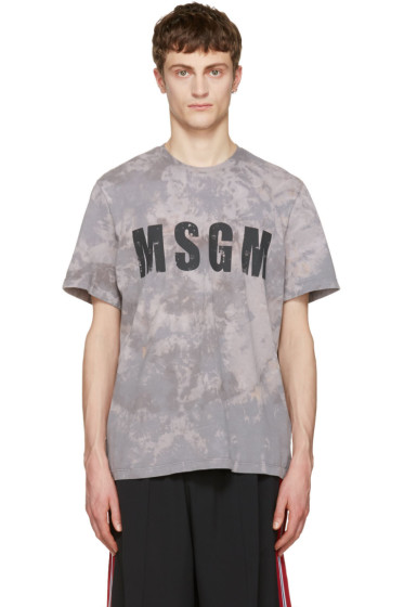 MSGM - Grey Marbled Logo T-Shirt
