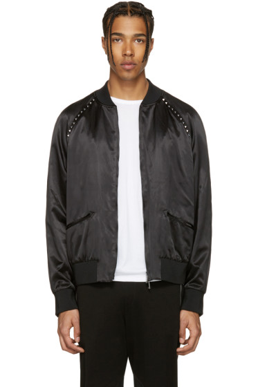 Valentino - Black 'Rockstud Untitled' 14 Bomber Jacket