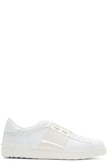 Valentino - White Patent Stripe Open Sneakers