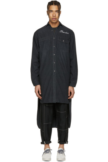 Miharayasuhiro - Black Denim Extra Long Shirt
