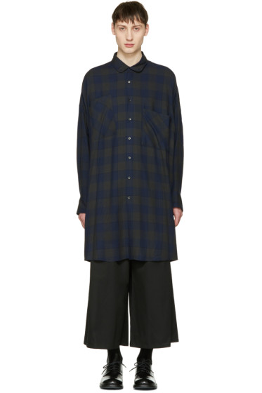 Lad Musician - Navy Check Big Shirt
