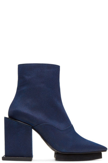 Toga - Navy Satin Cube Boots