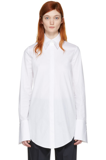 Jil Sander Navy - White Stretch Poplin Shirt