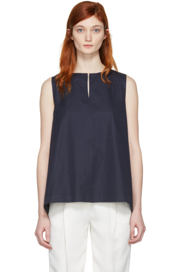 Jil Sander Navy - Navy Poplin Wrap Back Top