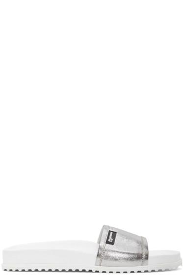 Jil Sander Navy - シルバー ビーチ スライド サンダル
