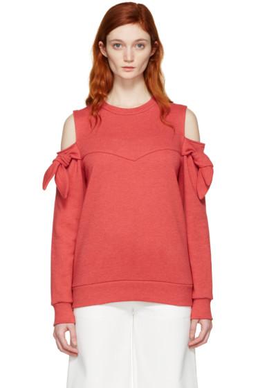 SJYP - Red Off-Shoulder Knotted Pullover