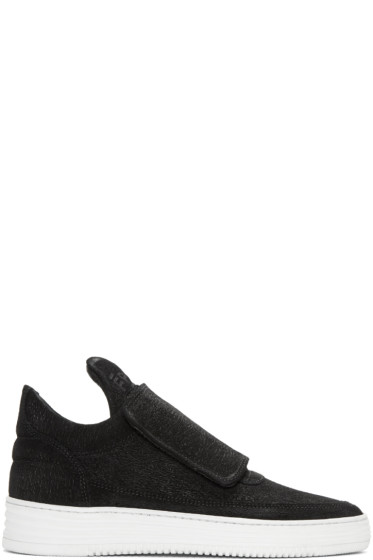Filling Pieces - Black Strap Sneakers