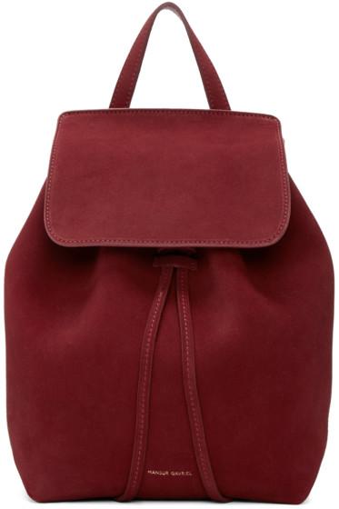 Mansur Gavriel - Burgundy Suede Mini Backpack
