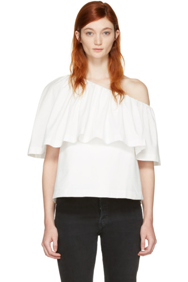 Edit - White Single-Shoulder Ruffle Blouse