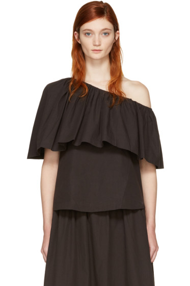 Edit - Black Single-Shoulder Ruffle Blouse