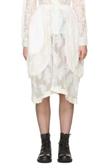 Comme des Garçons Comme des Garçons - Off-White Lace Draped Skirt