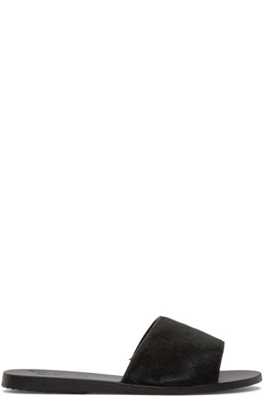 Ancient Greek Sandals - ブラック カーフヘア ターユゲテー サンダル