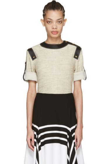 Loewe - Ivory Leather-Trimmed Top