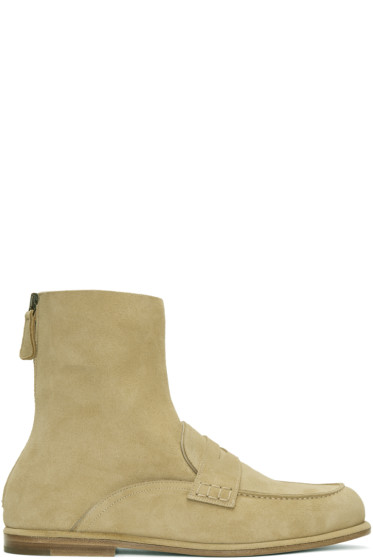 Loewe - Beige Suede Loafer Hybrid Boots