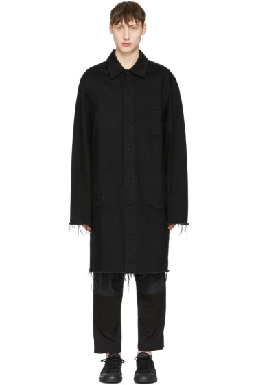Marques Almeida - Black Denim Mackintosh Jacket