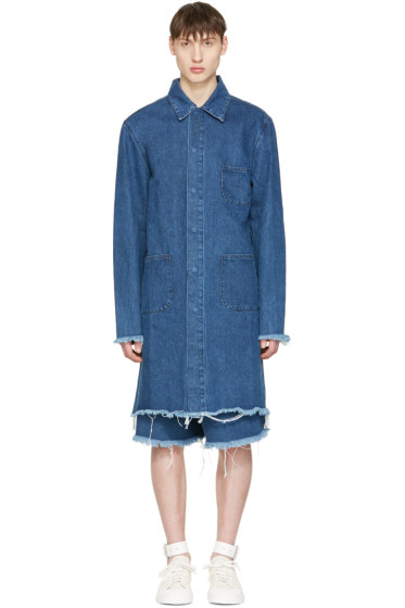 Marques Almeida - Blue Denim Mackintosh Jacket