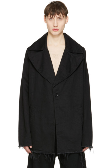 Marques Almeida - Black Denim Big Lapel Jacket