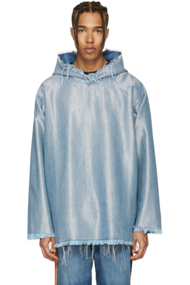 Marques Almeida - Blue & Silver Denim Oversized Hoodie
