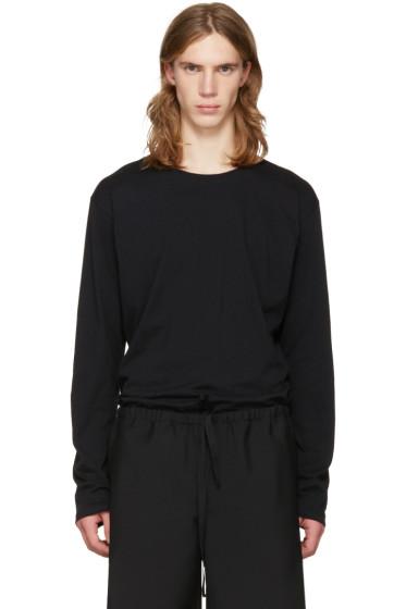 Issey Miyake Men - Black Cotton Long Sleeve T-Shirt