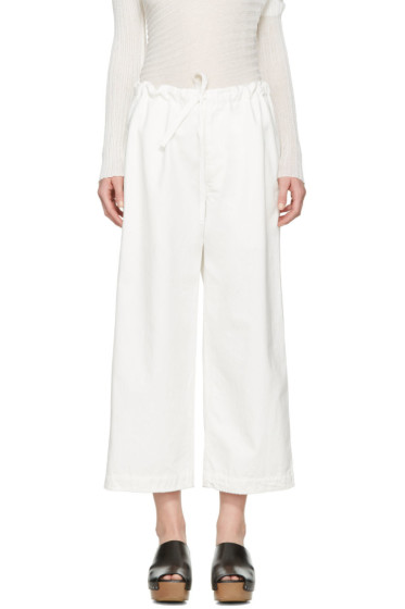 Y's - White Denim Drawstring Trousers