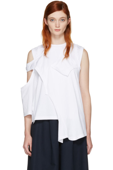 Enfold - White Reconstructed Jersey T-Shirt