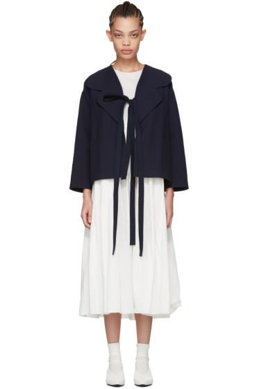 Sara Lanzi - Navy Cotton Ties Blazer