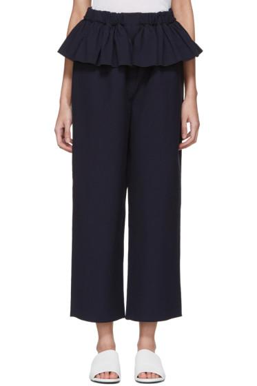 Sara Lanzi - Navy Ruffle Trousers