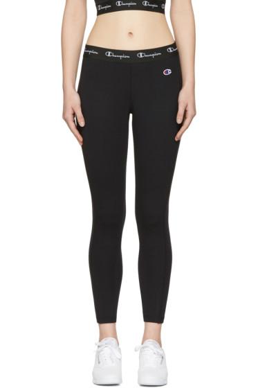 Champion Reverse Weave - Black Logo Patch Leggings