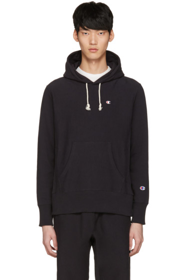 Champion Reverse Weave - Black Logo Patch Hoodie